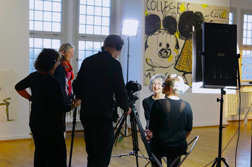 Susan Steinberg and film crew shooting Rose Wylie at her show at Städtische Galerie, Wolfsburg. Photographer: Sojo Yang, 2014.