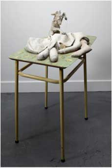 Cathie Pilkington. <em>Mother</em>, 2010. Wood, blanket, straw, clay, lino, steel, paint, 110 x 80 x 50 cm.  &copy; the artist and Space Station Sixty-Five. Photo: Graham Challifour.