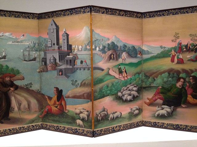 Screen panel Scenes of European Ways of Life, Momoyama period, 16th century. Ink and colour on paper.