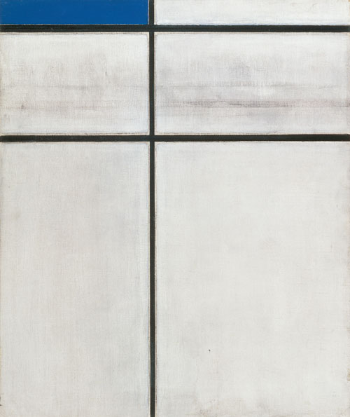Piet Mondrian. Composition with Double Line and Blue (unfinished), 1935. Oil on canvas, 60 x 50 cm. Mumok - Museum of Modern Art Foundation Ludwig Vienna. Photograph: mumok. © Bildrecht Wien, 2014.