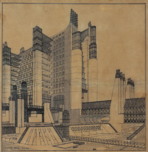 Antonio Sant'Elia (1888-1916). The città nuova apartment building with external elevators, gallery, covered passageway, on three street levels (tramways line, automobile lanes, pedestrian walkway), lamps and wireless telegraph, 1914 © Musei Civici Como- Palazzo Volpi.