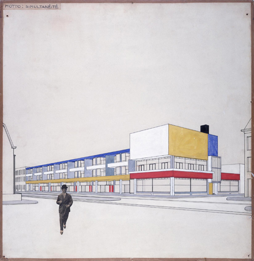 Competition design for a shopping street with housing above in DenHaag, 1924 Cornelis van Eesteren (1897-1988) © Netherlands Architecture Institute, Rotterdam/collection Van Eesteren-Fluck & Van Lohuizen foundation, The Hague. Archive: Van Eesteren.