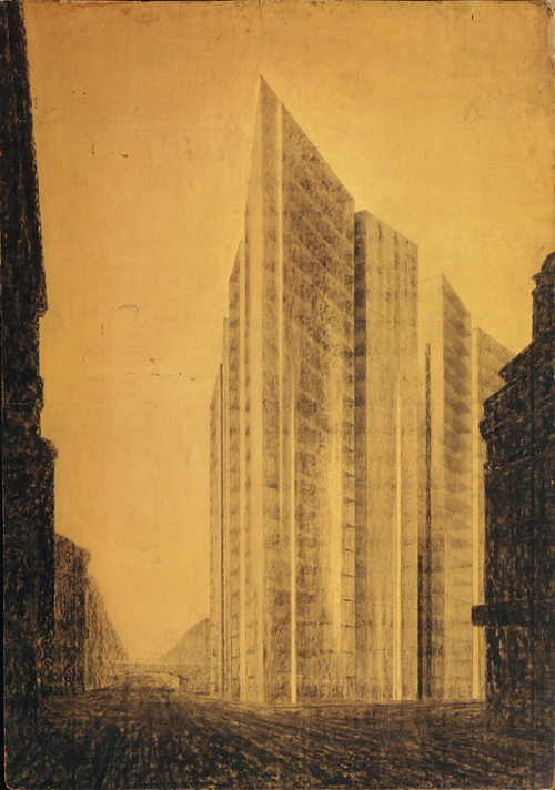 Ludwig Mies van der Rohe. Friedrichstrasse Skyscraper Project, perspective from north, 1921 © The Museum of Modern Art, New York.