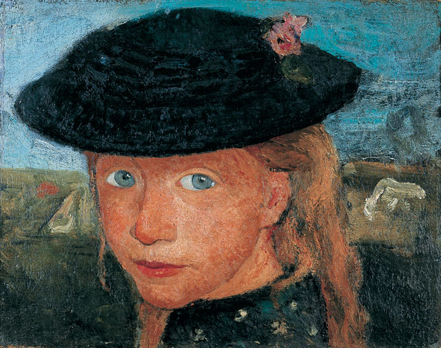Paula Modersohn-Becker. Tête d'une jeune fille blonde coiffée d'un chapeau de paille (Head of a young blonde girl wearing a straw hat), c1904. Tempera on canvas, 27 x 33.5 cm. Kunst- und Museumsverein, Wuppertal. © Medienzentrum, Antje Zeis-Loi / Kunst-und Museumsverein, Wuppertal.