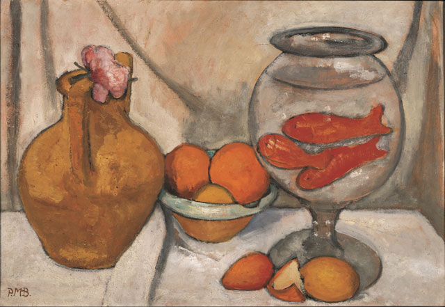 Paula Modersohn-Becker. Nature morte au bocal de poissons rouges, May-June 1906. Tempera on cardboard, 50.5 x 74 cm. Von der Heydt-Museum, Wuppertal. © Paula-Modersohn-Becker-Stiftung, Brême.