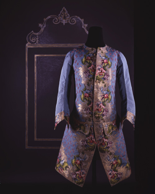 Man's waistcoat with sleeves, or jacket, c. 1747-1750. Sky blue figured 