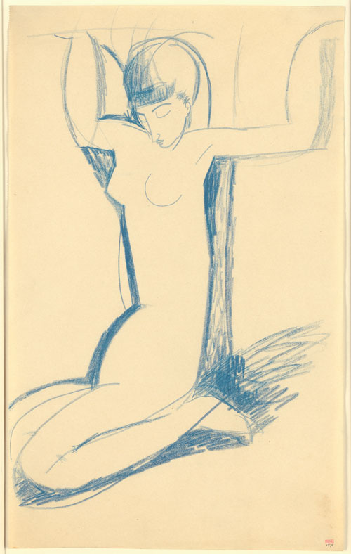 Amedeo Modigliani. Kneeling Blue Caryatid, c1911. Blue crayon, 43 x 26.5 cm. Courtesy: Richard Nathanson, London.