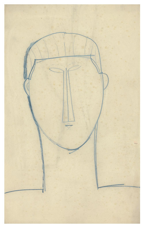 Amedeo Modigliani. Male Head and Shoulders, c1911. Blue crayon, 42.8 x 26.7 cm. Courtesy: Richard Nathanson, London.