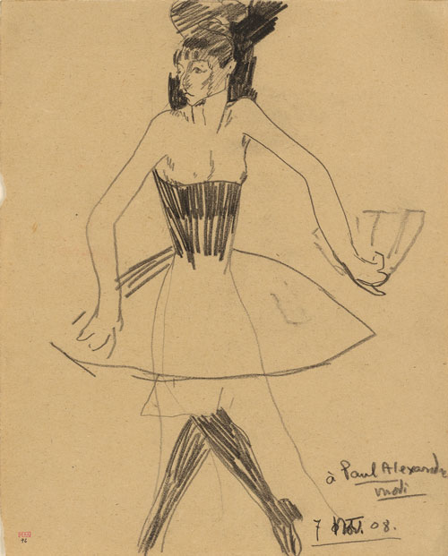 Amedeo Modigliani. Columbine with Fan and wearing a Tutu, 1908. Black crayon, 31 x 24.3 cm. Courtesy: Richard Nathanson, London.