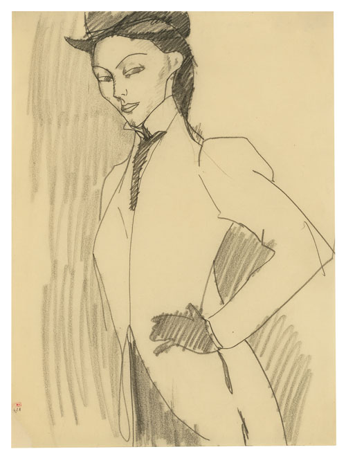 Amedeo Modigliani. L'Amazone, 1909. Black crayon, 30.8 x 23.2 cm. Courtesy: Richard Nathanson, London.