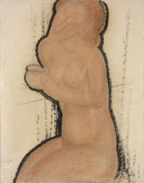 Amedeo Modigliani. Nude with Cup, c1916. Watercolour, Indian ink and pencil, 64.5 x 50 cm. Courtesy: Estorick Collection.