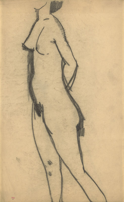 Amedeo Modigliani. Standing Nude, 1908. Black crayon, 43 x 26.7 cm. Courtesy: Richard Nathanson, London.