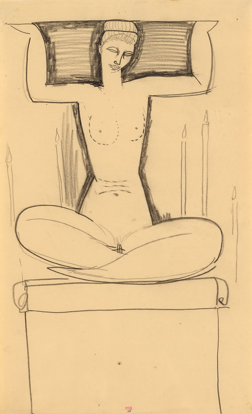 Amedeo Modigliani. Caryatid Seated on Plinth with Lighted Candles, n.d. Black crayon, 42.7 x 26 cm. Courtesy: Richard Nathanson, London.