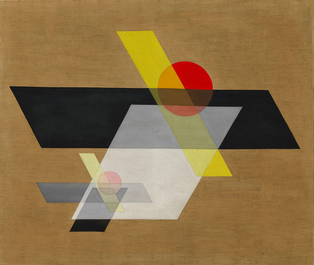 László Moholy-Nagy. A II (Construction A 10, 1924. Oil and graphite on canvas, 115.8 x 136.5 cm. Solomon R. Guggenheim Museum, New York. © 2016 Hattula Moholy-NagyjVG Bild-Kunst, Bonn/Artists Rights Society (ARS), New York.