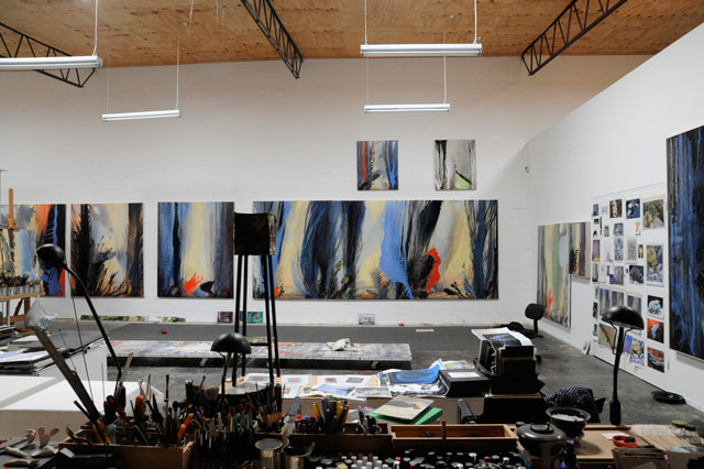 Vera Möller. Studio view with Slow Indigo triptych, 2015. 456 cm (each panel 183 x 152 cm).