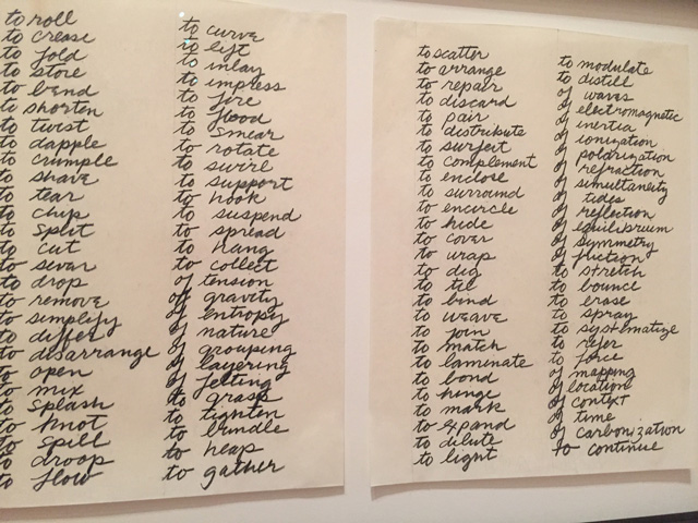 Richard Serra. Verb List. 1967–68. Graphite on paper, 2 sheets, each 10 x 8 in ( 25.4 x 20.3 cm). Gift of the artist in honour of Wynn Kramarsky, 2011. Photograph: Jill Spalding.
