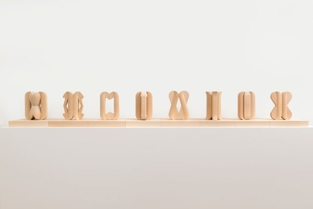 Paul de Monchaux. Eight Studies for Male & Female Columns, 2016. Bronze, 26 x 19 x 4.5 cm each (10.2 x 7.4 x 1.7 in each), edition of seven.