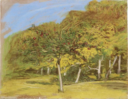 Claude Monet. <em>Fruit Trees,</em> c. 1865-1875. Pastel on paper, 22.5&nbsp; x 29.2 cm. Private collection, courtesy of Galerie Jan Krugier, Ditesheim &amp; Cie, Geneva