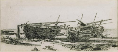 Claude Monet. <em>Boats on the Beach at Normandy</em> (recto), 1868-1869. Black chalk on paper, 13.5 x 30.5 cm. Private collection, courtesy of Elrick-Manly Fine Art Inc