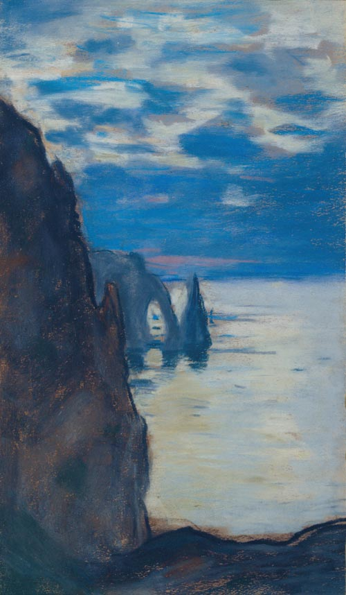 Claude Monet. <em>Etretat, the Needle Rock and Porte d'Aval,</em> c. 1885. Pastel on tan paper, 40 x 23.5 cm. Private collection, Scotland Photo courtesy LeFevre Gallery, London
