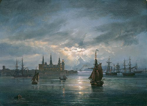 Johan Christian Dahl (1788-1857) <em>Kronborg Castle by Moonlight</em> National Museum of Art, Architecture and Design, Oslo.