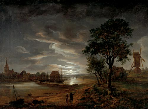 Johan Christian Dahl (1788-1857). <em>View of Stege in Moonlight</em>, 1815. &copy; Bergen Art Museum, Norway.