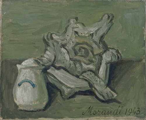 Giorgio Morandi, 1890&ndash;1964.<em> Natura morta,</em> 1943. Oil on canvas 25 x 30 cm (60 x 68.6 cm framed). Private Collection, Crevalcore, Italy. foto &copy; Luciano Calzolari, Crevalcore &copy; Giorgio Morandi by SIAE 2008