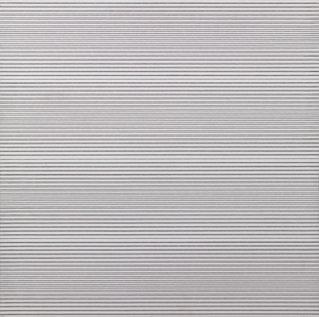 François Morellet. 2 trames inégales avec 5 interférences, 1974. Acrylic on wooden panel, 80 x 80 cm. Courtesy The Mayor Gallery, London