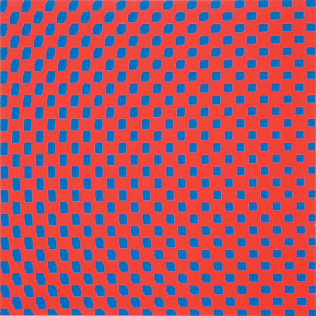 François Morellet. 3 Trames de carrés réguliers pivotés sur le côté, 1970. Silkscreen on wood, 23 5/8 x 23 5/8 in. Courtesy The Mayor Gallery, London.