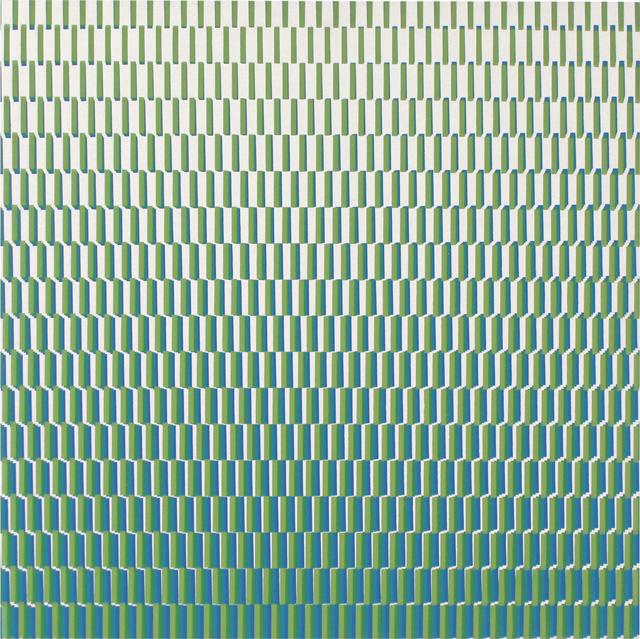 François Morellet. 4 trames de tirets du bleu au vert pivotées sur un côté, 1971. Silkscreen on wood, 23 5/8 x 23 5/8 in. Courtesy The Mayor Gallery, London.
