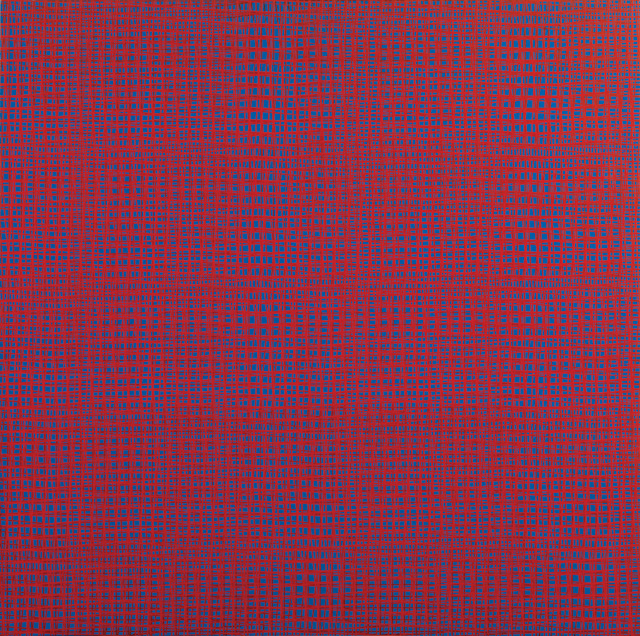 François Morellet. 5 trames 85°, 87°5, 90°, 92°5, 95°, 1959–69. Serigraphic ink on wood, 80 x 80 cm, edition 9 of 9. Courtesy The Mayor Gallery, London.