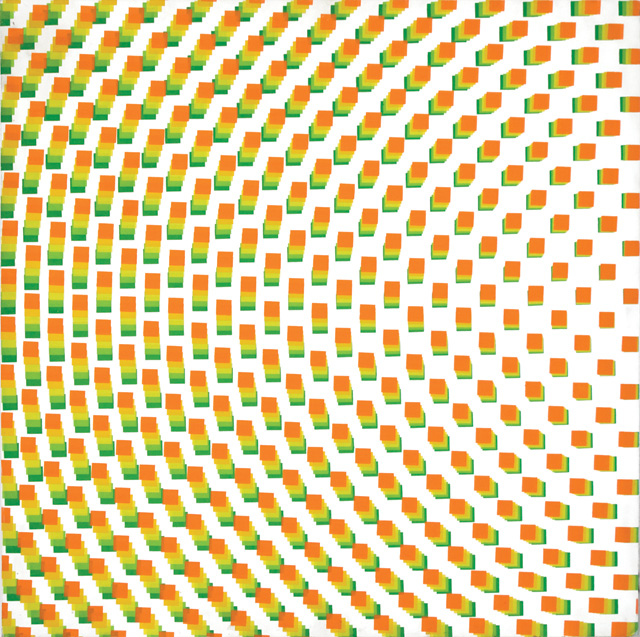 François Morellet. Du vert à l'orange (5 passes de carrés réguliers pivotées sur le côté), 1971. Silkscreen ink on wood, 80 x 80 cm. Courtesy The Mayor Gallery, London.