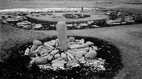 Mariko Mori. Stone Circle, Ōyu, 2004. Piezo dye print, 21 ¾ x 26 7/8 inches. Courtesy of SCAI THE BATHHOUSE, Tokyo and Sean Kelly, New York.