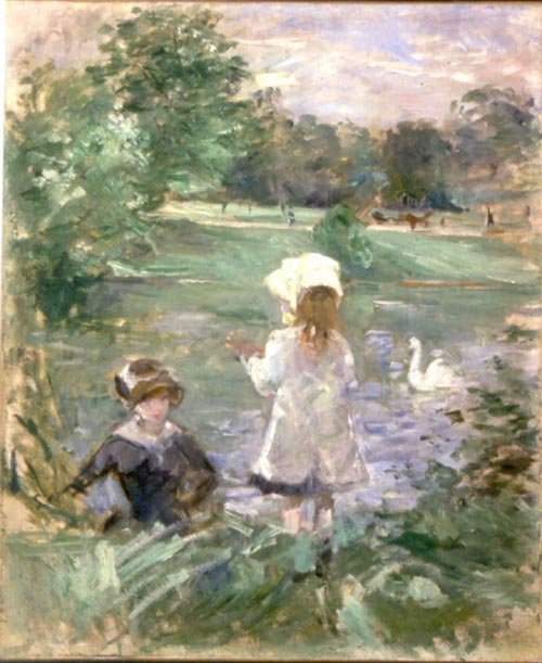 Berthe Morisot, <em>Au Bord du Lac (On the Lakeside)</em>, 1883. Oil on cnavas, 1883. Oil on canvas, 24 x 19 5/8  in. Mus&eacute;e Marmottan Monet. Gift of Annie Rouart.