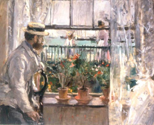 Berthe Morisot. <em>Eugene Manet A L'Ile de Wight (Eugene Manet at the Isle of Wight)</em>, 1875. Oil on canvas, 38 x 46 in. Mus&eacute;e Marmottan Monet.