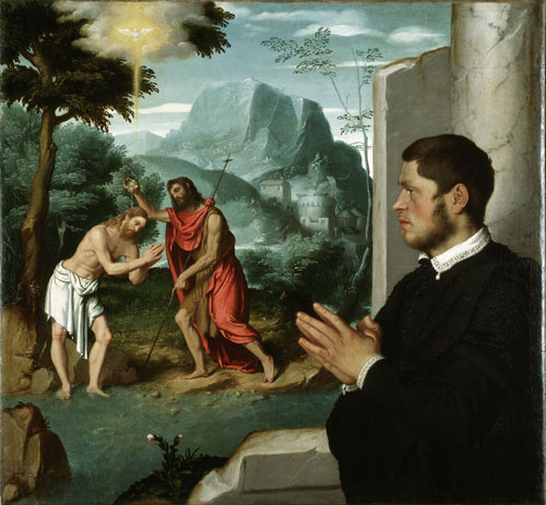 Giovanni Battista Moroni. A Gentleman in Adoration before the Baptism of Christ, c1555-60. Oil on canvas, 112.8 x 104 cm. Gerolamo and Roberta Etro. Photograph: Gerolamo and Roberta Etro.