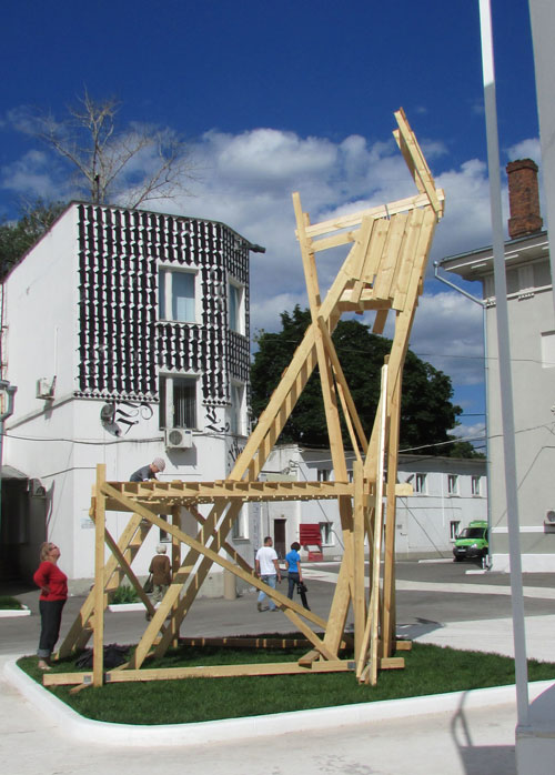 ZIP Group. Civil Resistance District, 2013. Command Tower Object, wood, megaphone 250 x 150 x 150 cm. Courtesy of the artists.