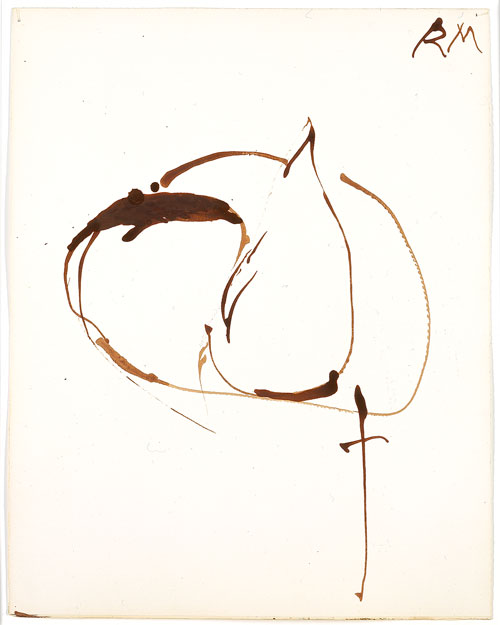 Robert Motherwell. <em>Sepia Automatism</em>, 1965. Sepia ink on paper, 36.8 x 29.2 cm (14½ x 11½ in). © Dedalus Foundation, Inc. / Licensed by VAGA, New York, NY.