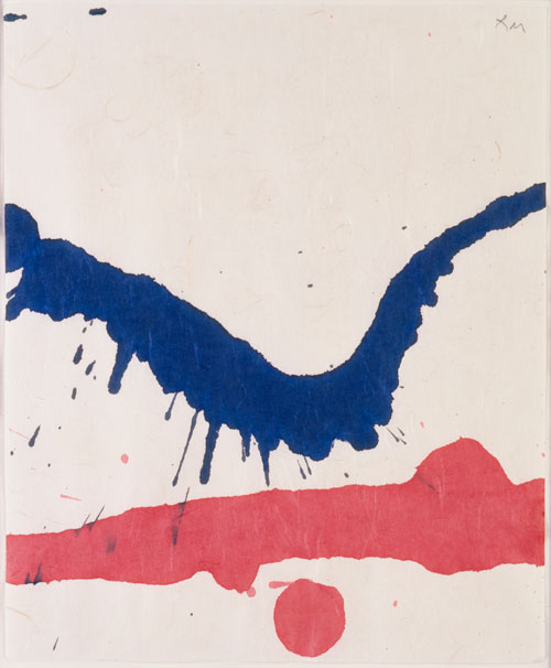 Robert Motherwell. <em>From the Lyric Suite</em>, 1965. Red and blue ink on rice paper, 27.9 x 22.9 cm (11 x 9 in). © Dedalus Foundation, Inc. / Licensed by VAGA, New York, NY.