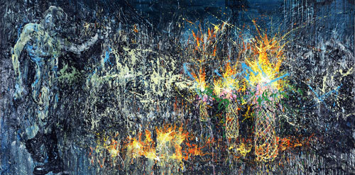 He Gong. Dance Of Zeus, 2011. Acrylic on canvas, 200 x 300 cm.