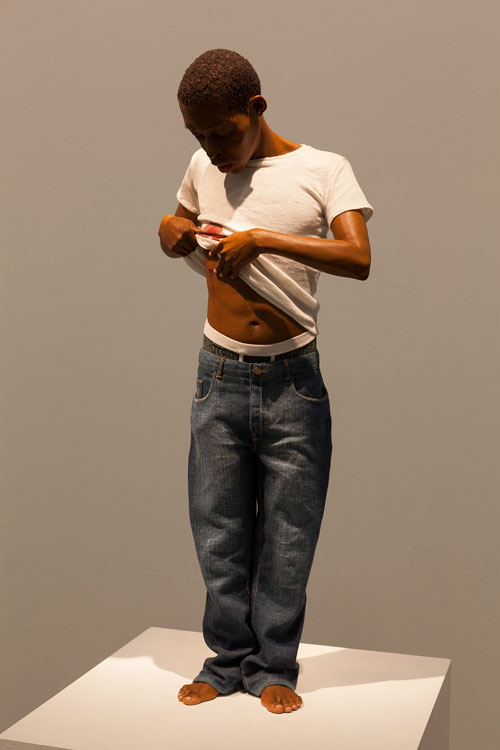 Ron Mueck. Youth, 2009. Mixed media, 65 x 28 x 16 cm. Private collection. Photograph: Isabella Matheus.