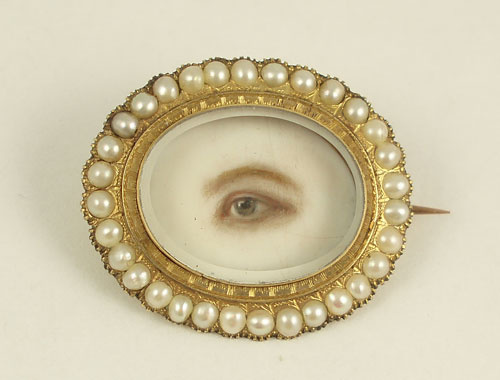 Artist Unknown. Brooch with Eye Miniature, c1845. Watercolour on ivory, gold, pearls, rock crystal. Collection of Cathy Gordon. Photograph: Courtesy of Cathy Gordon.
