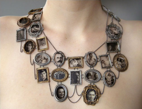 Ashley Gilreath. I Am Who They Were (neckpiece), 2011. Decal photographs, sterling silver, bronze, optical glass. Collection of the artist. Photograph: Michael Webster.