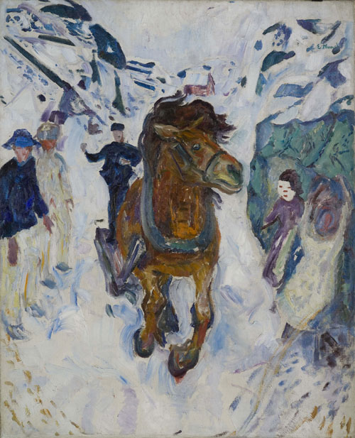 Edvard Munch. <em>Cheval au galop,</em> 1910-12. Oil on canvas, 148 x 120 cm. © Munch Museum/Munch-Ellingsen Group/BONO 2011. © Adagp, Paris 2011.