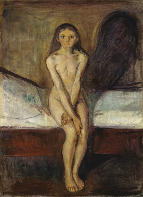 Edvard Munch. <em>Puberté,</em> 1894-95. Oil on canvas, 151.5 x 110 cm. © Nasjonalmuseet for kunst, arkitektur og design, Oslo, Norvège. © Adagp, Paris 2011.