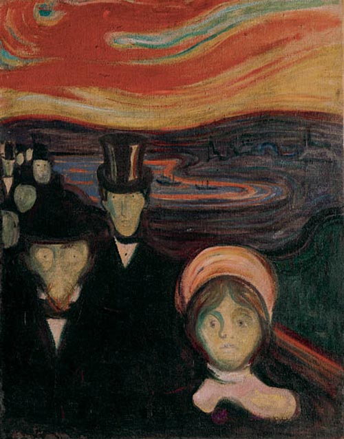 Edvard Munch. <em>Angst</em>, 1894. Oil on canvas 37 x 29 1/8 in (94 x 74 cm). Munch Museum, Oslo (c) 2006 The Munch Museum/The Munch-Ellingsen Group/Artists Rights Society (ARS), New York.