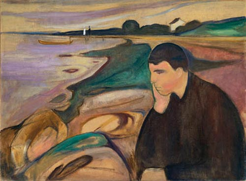 Edvard Munch. <em>Melancholy</em>, 1891. Oil on canvas, 28 1/4 x 38 1/2 in (72 x 98 cm). Private Collection (c) 2006 The Munch Museum/The Munch-Ellingsen Group/Artists Rights Society (ARS), New York.