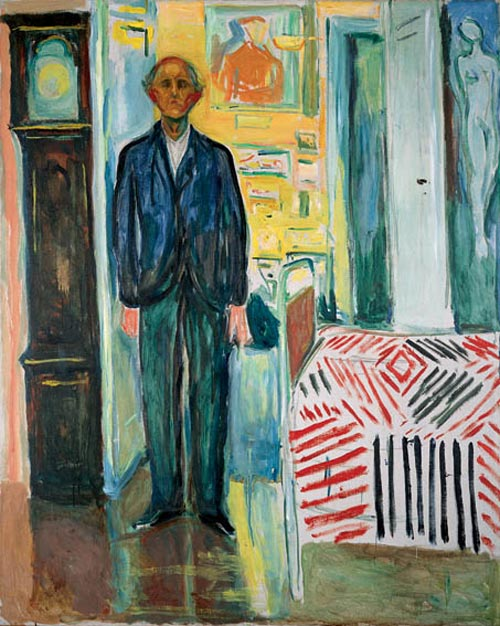 Edvard Munch. <em>Self-Portrait: Between the Clock and the Bed</em>, 1940-42. Oil on canvas 58 7/8 x 47 7/16 in (149.5 x 120.5 cm). Munch Museum, Oslo (c) 2006 The Munch Museum/The Munch-Ellingsen Group/Artists Rights Society (ARS), New York.