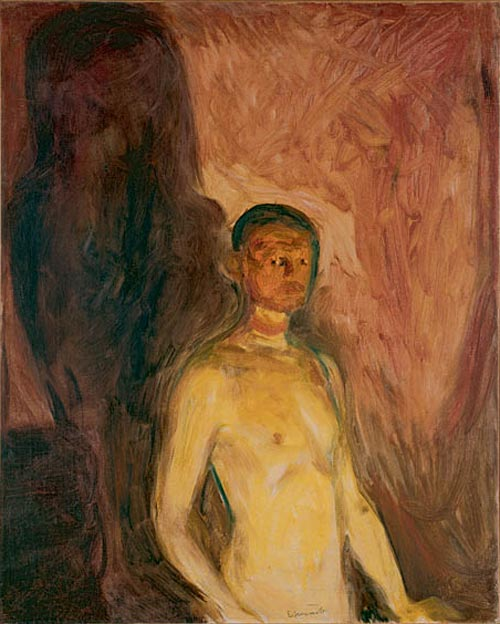 Edvard Munch. <em>Self-Portrait in Hell</em>, 1903. Oil on canvas 32 5/16 x 26 in (82 x 66 cm). Munch Museum, Oslo (c) 2006 The Munch Museum/The Munch-Ellingsen Group/Artists Rights Society (ARS), New York.