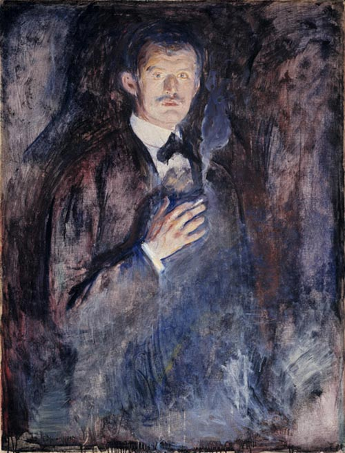 Edvard Munch. <em>Self-Portrait with Cigarette</em>, 1895. Oil on canvas 43 1/2 x 33 11/16 in (110.5 x 85.5 cm). The National Museum of Art, Architecture, and Design/National Gallery, Oslo (c) 2006 The Munch Museum/The Munch-Ellingsen Group/Artists Rights Society (ARS), New York.